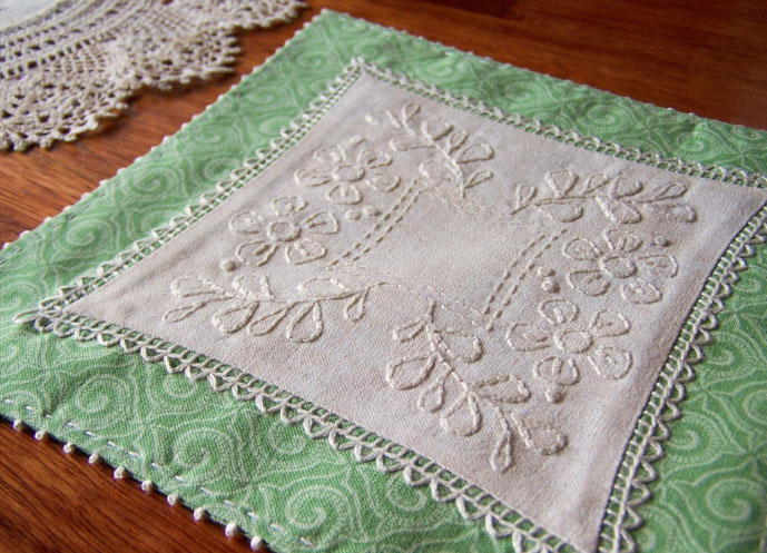 A Doily for Bessie - appliquéd and embroidered doily