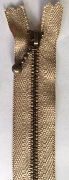 Inazuma zipper - Zip metal tooth - 20cm mushroom colour