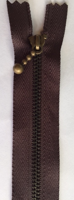 Inazuma zippers - Zip metal tooth - 20cm dark brown colour