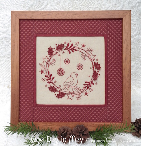 Redwork Christmas Wreath