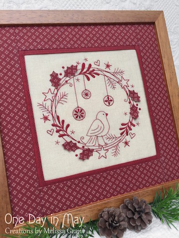 Redwork Christmas Wreath