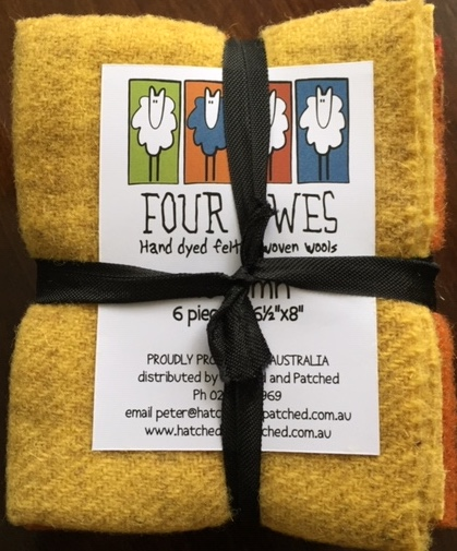 'Autumn' - Four Ewes hand dyed felt woven wools - 6 pieces